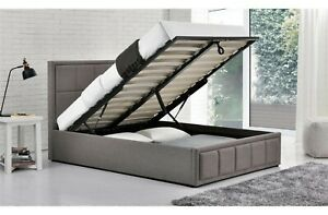 NEW 4FT Versatile Storage Gas-Lift Ottoman Bed Frame In Deluxe Grey Fabric
