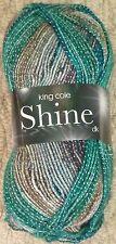 King Cole Shine DK Glitter Sparkle Double Knit Knitting Wool Yarn 100g Sea Breeze 1716