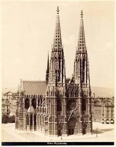 Wien Austria Votivkirche Votive Church Large vintage albumen photo 1860c Excell.