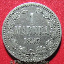 1865 FINLAND UNDER RUSSIA 1 MARKKA SILVER ALEXANDER II COLLECTABLE WORLD COIN c2