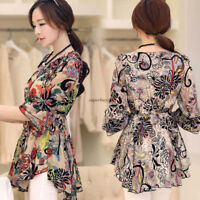 Fashion Women Floral Boho Flare Sleeve Asymmetric Shirt Peplum Top Blouse 3XL