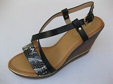 Patrizia Spring Step Womens Shoes NEW $50 Perseus Black Pythn Sandal Wedge 41 10