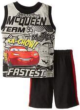 NEW Disney Cars Lightning McQueen 2 Piece Tank & Short Set Toddler 2T Gray Black