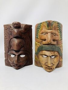 2 Wooden Masks Hand Carved Statue Vintage Wall Hanging Face Décor Art Sculpture