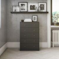Dresser for Bedroom 5 Drawer Dressers Clothes Storage Organizer Tvilum Gray New