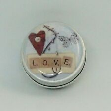 TINY ROUND DECORATIVE TIN  MINTS LIP BALM RINGS EARRINGS LOVE COLLAGE BUTTERFLY