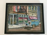 "Shawn Queenan Framed Artwork Print of Barbershop Street Scene, 13""X16"""