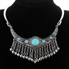 Necklace Choker Turquoise Tassel  Hippie Ethnic Tribal Bohemian N1043