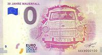 BILLET 0  EURO 30 JAHRE MAUERFALL   ALLEMAGNE 2018  NUMERO 100