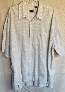 Quality pale green check Cotton blend short Sleeve Shirt 4XL