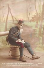 POSTCARD  MILITARY   WWI  SENTIMENTAL   French   Writing  Home