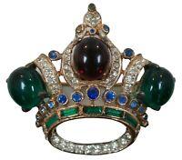 "1940s Vintage Coro Craft Sterling Silver 925 Rhinestone Crown Pin Brooch 2"""