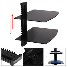 Black 2 Tier Tempered Glass Adjustable Floating Shelves TV DVD Player Sky  Box