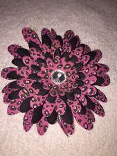 Handmade Pink Rose Black Lepard Jeweled Flower Hair Clip Accessories Silk Flower
