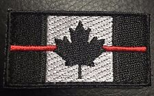 CANADA FLAG PATCH RED LINE CANADIAN MAPLE SWAT EMS THIN BLACK OPS hook loop leaf