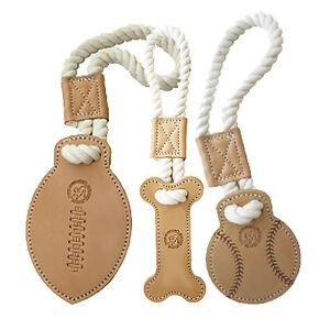 New Auburn Durable All-Natural Cotton and Leather Ropes Dog Bone Tug Toys