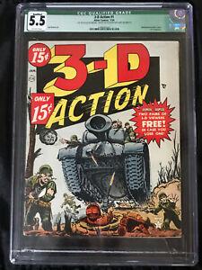 Atlas Comics 1953 RARE 3-D Action #1 CGC 5.5 Classic 3-D Comic with 3-D Glasses!