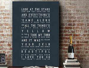 Coldplay Yellow | Poster Wall Art SONG LYRICS TYPOGRAPHY PRINT | CANVAS GIFT
