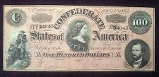 New listing $100 1864 Confederate Note Treasury Stamp on Reverse