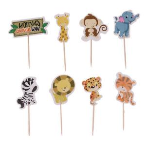 48pcs Zoo Animal Cupcake Picks Jungle Safari Favors Cake Toppers Party Decor