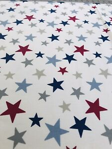 John Lewis Stars Curtain Fabric - 1.2m Remnant 139cm wide Ivory, Blue, Red, Gre