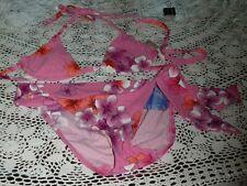 BECCA 2 piece Pink Multi Floral Bikini~Size L~Halter Top/Bottom that ties~N/W/T