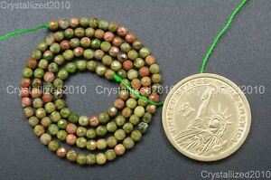 """Natural Unakite Gemstone Faceted Round Beads 2mm 4mm 6mm 8mm 10mm 12mm 14mm 15"""""""