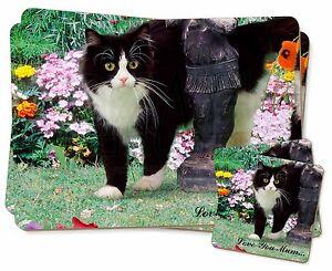 Black+ White Cat 'Love You Mum' Twin 2x Placemats+2x Coasters Set i, AC-197lymPC