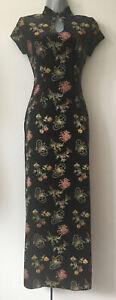 CHARLOTTE HALTON Stunning Velour Maxi Dress/ Mandarin Collar Size 10UK