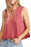 FREE PEOPLE New Love Raw Edge Cropped TANK TOP Red Size Small $48 - NWOT