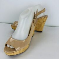 Franco Sarto Beige Sarah Size 8.5 M Open Toe Sling Back Platform Wedge Wicker