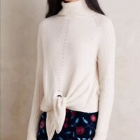 Anthropologie MOTH Women's SMALL Cream Ribbed TIE FRONT Turtleneck SWEATER