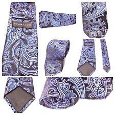 SEAN JOHN Mens Tie 100% Silk Tie Paisley Blue  Gray Black Silver