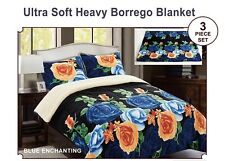 3pc Borrego/Sherpa Blanket Floral Design Super Soft Warm kING SIZE