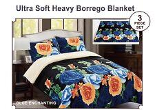 3pc Borrego/Sherpa Blanket Floral Design Super Soft Warm kING SIZE