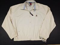 Vtg 90s Tommy Hilfiger Men's Full Zip Harrington Beige Jacket Size 2XL XXL NEW