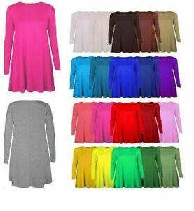 Ladies Long Sleeve Plain Swing/Skater Dress UK 8 - 24