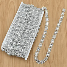Crystal Clear Rhinestones Silver Chain Trim  Beads Crafts Sewing Accessories