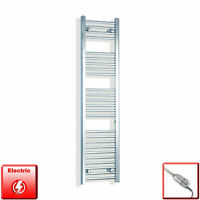 Chrome 1400 x 300 mm Electric Heated Towel Rail Radiator Bathroom Pre-Filled HTR
