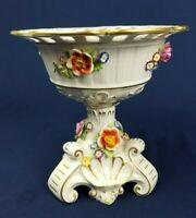 DRESDEN 1817 Hand Painted Floral Porcelain Center Piece Bowl