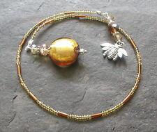 Handmade Golden Amber Tones Glass Beads Honeybee Charm Bookmark