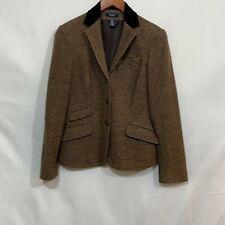 New listing Chaps Womens Brown Long Sleeve Notch Lapel 3 Button Equestrian Blazer Size 6