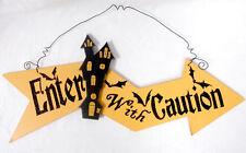 Black Orange Glitter Wood Enter With Caution Haunted House Halloween Decor Sign