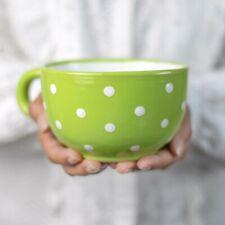 Handmade Green & White Polka Dot Ceramic Large Cappuccino Coffee Tea Soup Mug