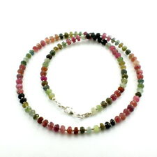 Necklace natural tourmaline gemstone beaded 925 solid sterling silver 18 gram