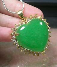 Gold Plate Green JADE Pendant Love Heart Diamond (Imitation) Amulet 236687