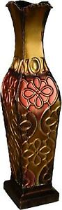 """Metal Vase Floor New Tall Decor Decorative Large Home Office Spa Flower Flow 17"""""""
