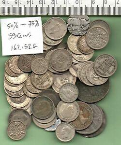 162.52 GRAMMES OF 50% - 75% SCRAP GENUINE SILVER COINS
