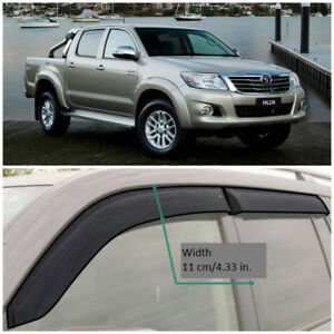 TE24610 Window Visors Sun Guard Vent Wide Deflectors For Toyota Hilux 2010-2015