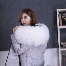 "Real White Mongolian Fur Collar Hood Trimming Scarf 31.5"" 80x25cm Fur scarf US"